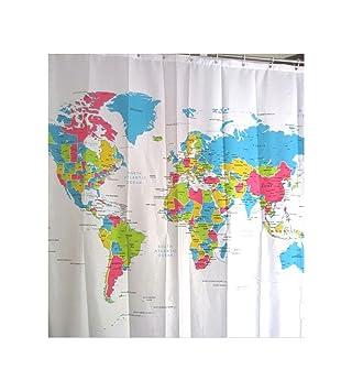 World map shower curtain amazon kitchen home world map shower curtain gumiabroncs Image collections