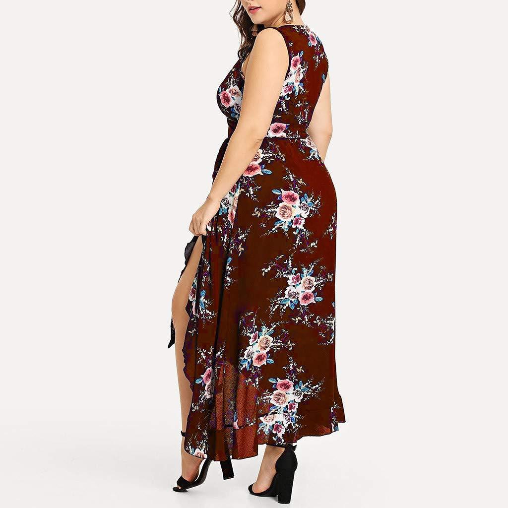 Tootu Plus Size Women Maxi Dress Boho Flower Bohemian Casual Sleeveless V-Neck