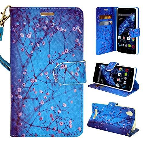BLU Studio Energy 2 case, Customerfirst Flip Wallet Pouch, Slim Folio Case with Kickstand, 2 Credit Card Slot with Strap - For BLU Studio Energy 2 - Free 1 emoji key chain (Blossom Blue) (Studio Energy Blu)