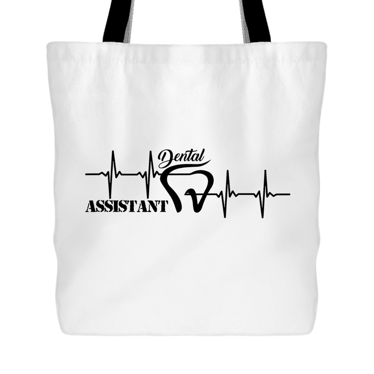 Dental Assistant Tote Bag - Dental Assistant Heartbeat Handbags EZARO ERGAB-EZR1132-WBG