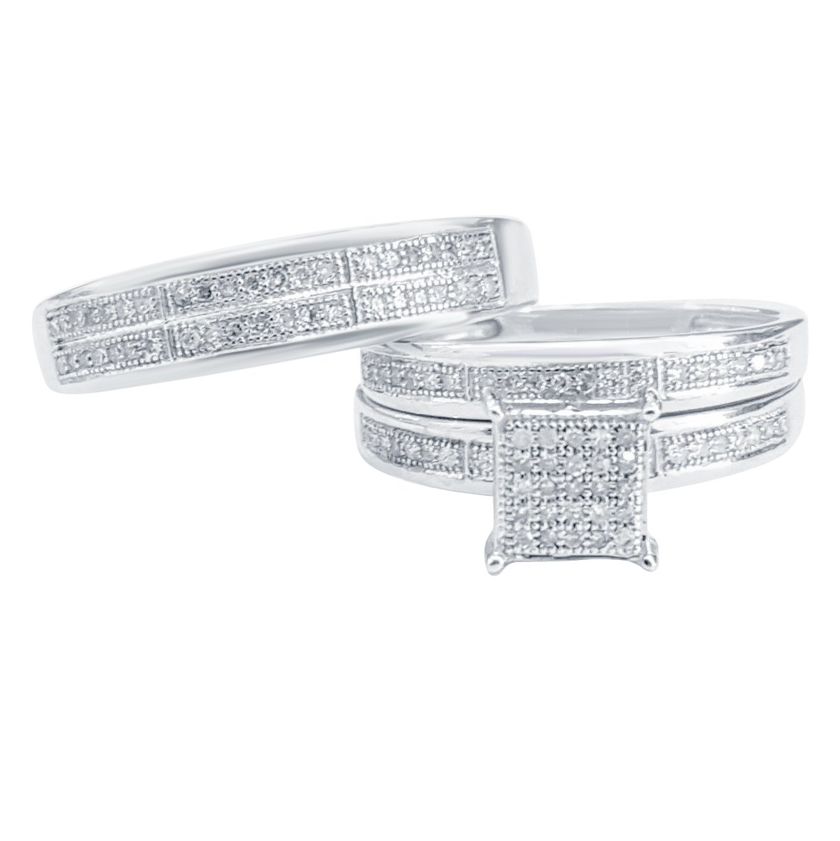 Silvercz Jewels Ladies Sim Diamond Trio Bridal Set Engagement Ring His And Her 14K White Gold Fn