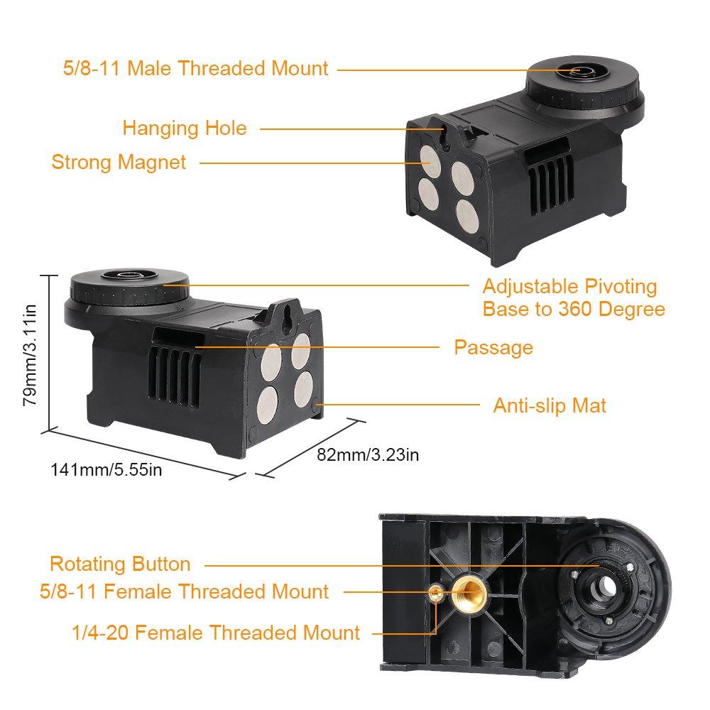 Base Pivotante Magn/ÉTique Multifonction Huepar PV5 Adaptateur pour Niveau Laser Support R/églable /à 360 degr/és avec Supports /à Filetage Femelle Standard de 5//8