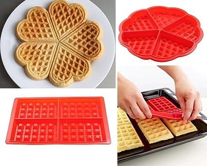 VI Ai Waffle molde 2 piezas, silicona redondo y cuadrado Waffle Maker molde para hornear