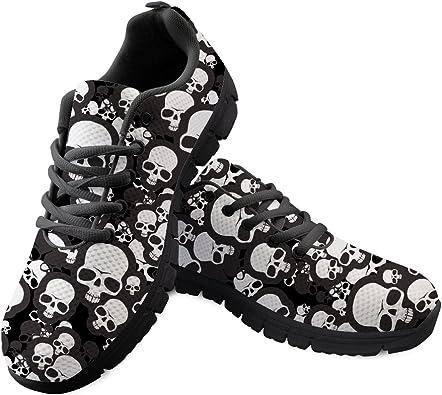 Gopumchy - Zapatillas de Running para Mujer, Color Negro, con diseño de Calavera, Suela Negra, Transpirables, cómodas, para Correr, Hacer Deporte, IR al Gimnasio, IR de Compras: Amazon.es: Zapatos y complementos