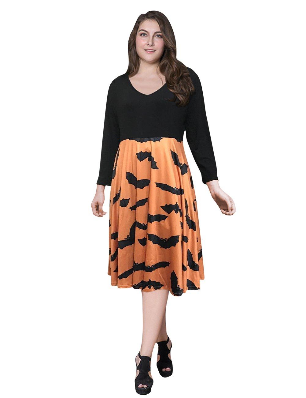 AMZ PLUS Women Plus Size 3/4 Sleeve Swing Party Casual Dresses Orange 4XL