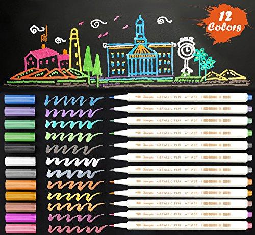 Metallic Marker Pens, 12 Assorted Color Sheen Glitter