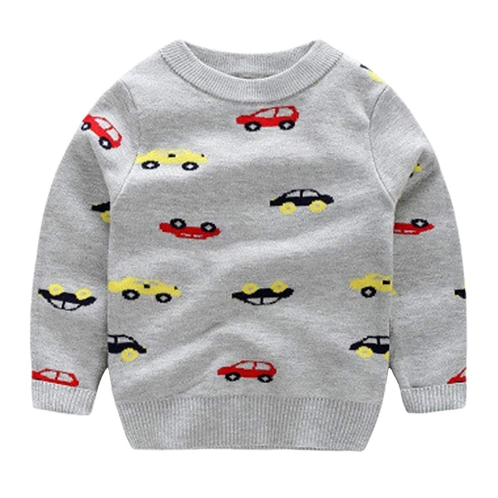 BOBORA Baby Boys Knitted Sweatshirt Kids Long Sleeve Autumn Winter Dinosaur Knitwear Jumper Pullover Top Shirts for 1-6Years