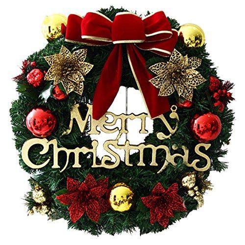 - UHeng 16 Inch Artificial Garland Gold Bowknot Bells Door Merry Christmas Wreath