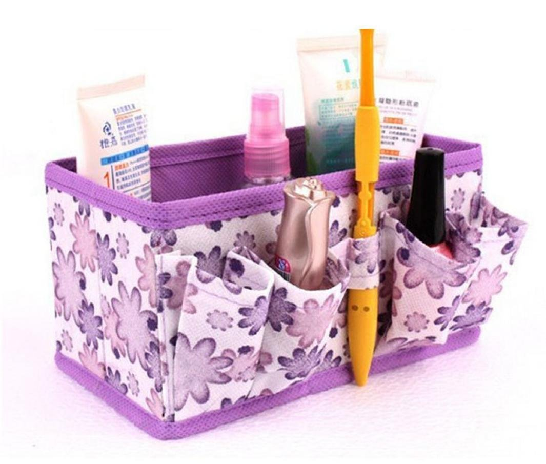 (Purple) - Bolayu Makeup Cosmetic Storage Box Bag Bright Organiser Foldable stationery Container (Purple)  パープル B01IGPCD32
