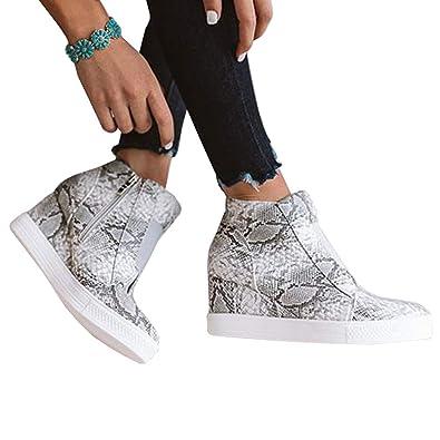 699c1df4abc6 Amazon.com | Womens Leopard Wedge Sneakers Platform Slip On High Top ...