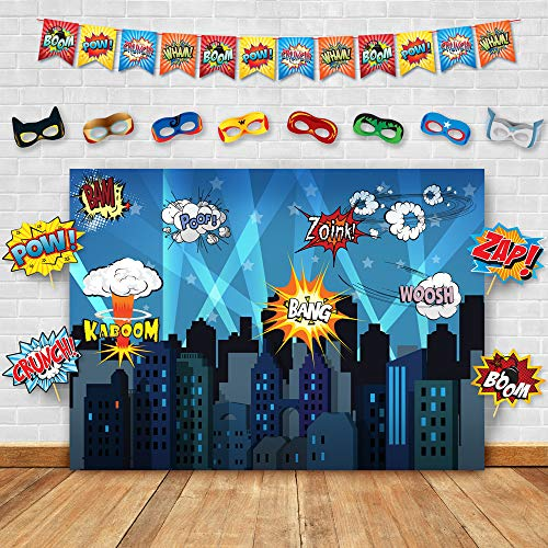 Superhero Cityscape Photography Backdrop, Studio Props, Flags and Mask DIY Kit. Great as Super Hero City Photo Booth Background - Birthday Party and Event Decorations]()