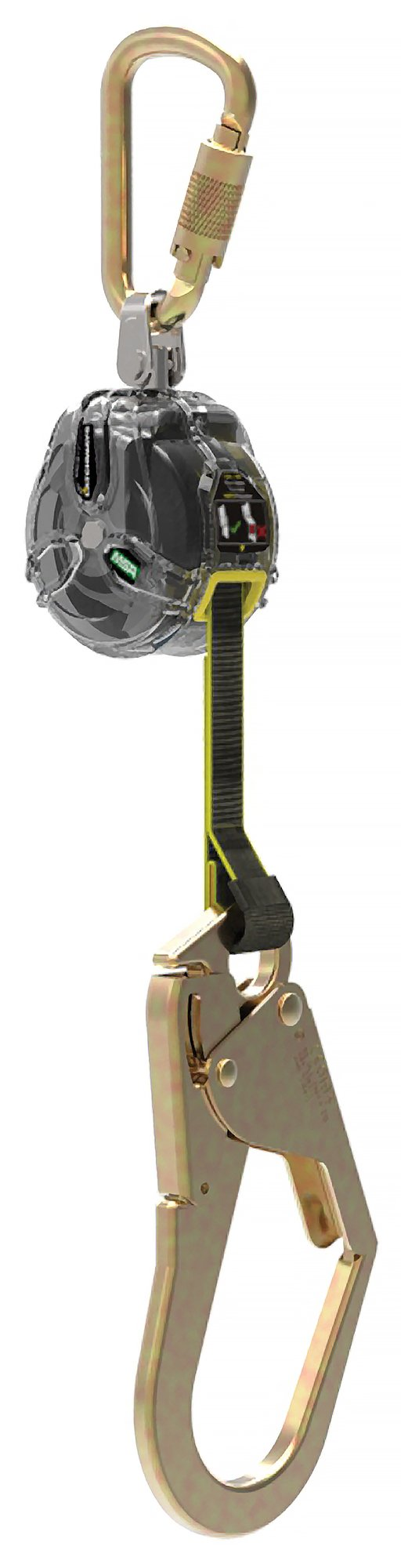 MSA 63011-00F Latchways V-TEC Mini Single-Leg Personal Fall Limiter with Top Steel Carabiner and 36CL Snap Hook, Small 6-Feet by MSA (Image #1)