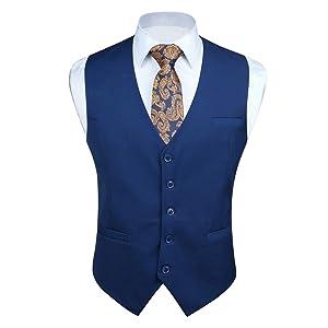 (ヒスデン) HISDERN スーツ ベスト メンズ 青 ジレ ベスト 結婚式 無地 光沢 フォーマル ビジネス 5ボタン スリム 男性用 礼服 XXL