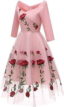 BBQBQ Vestidos Mujeres Corto Encaje Cóctel Fiesta,Vestido Rosa ...