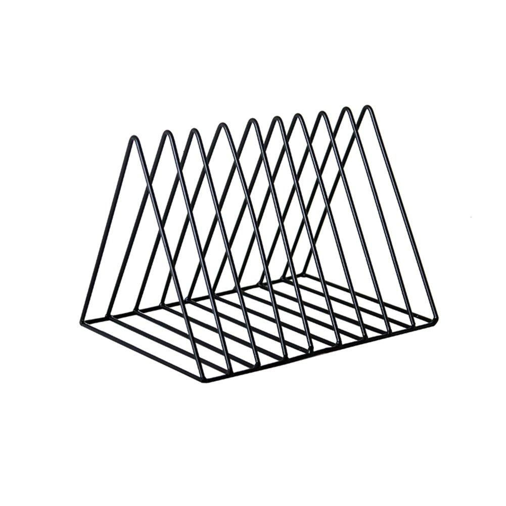 Rart Desktop Letter Sorter,Metal Desk Organizer Modern Brief Book Shelf Storage Rack -Black 26.5x18x18.5cm(10x7x7inch)