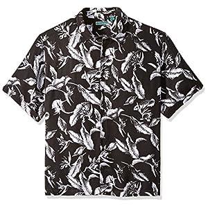 8f30e148d Cubavera Men's Big and Tall Short-Sleeve Allover Tropical Print Shirt, Jet  Black, 2X
