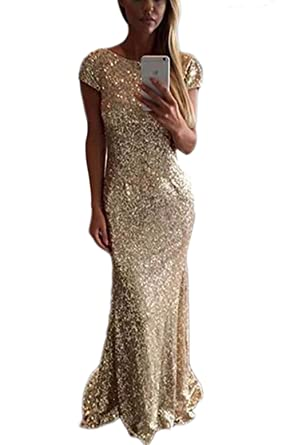 8394772168b9 Veilace Women's Gold Sequin Evening Dress Long Backless African Formal  Mermaid Prom Dress