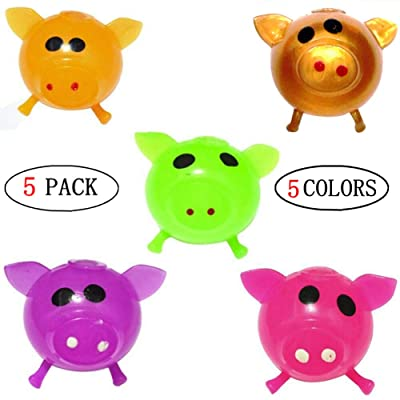 GLOA 5 Pack Pig Splat Toy, Bouncy Balls, Decompression Splat Ball, Anti Stress Balls for Kids Golden: Toys & Games