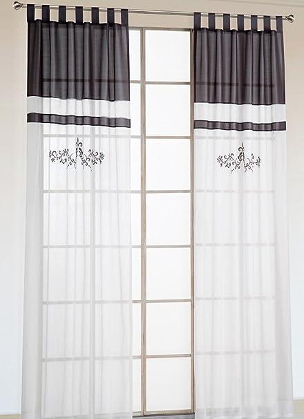 LivebyCare 1pcs Flowers Embroidery Sheer Window Curtain Panel Drape Treatment Grommet Top Voil Drapery Room Divider Partition Decorative Vanlance Pelmet for Meeting Room Club Bar