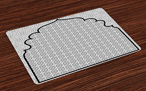 Ambesonne Moroccan Place Mats Set of 4, Arabian Art Background with a Group of Traditional Turkish Ottoman Forms Patterns, Washable Fabric Placemats for Dining Room Kitchen Table Decor, Black White by Ambesonne