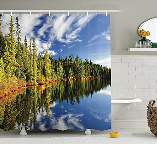 [Lake House Decor Collection Elegant Forest Reflecting on Calm Lake Shore at North Canada Universe Art Print Polyester Fabric Bathroom Shower Curtain Set with Hooks Green Blue] (The Pope Costume At The White House)