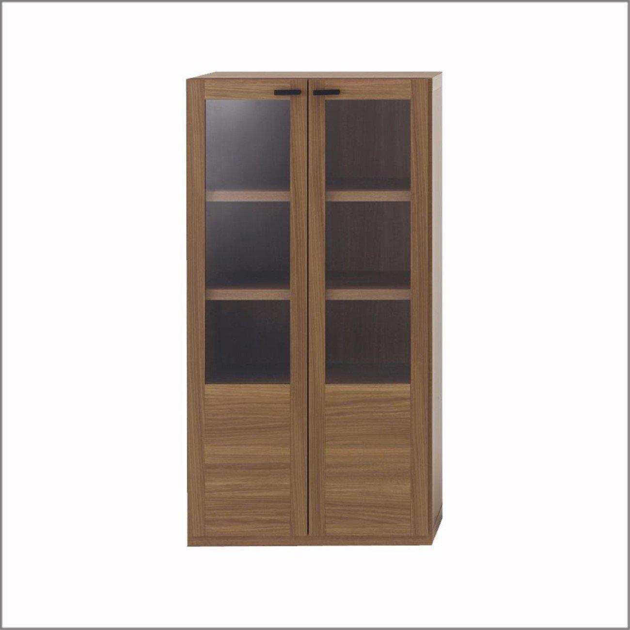 収納家具 棚 ガラス戸 リアルウォールナット柄 GFD-60 B06Y6B28TB