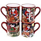 Certified International The Night Before Christmas Mugs (Set of 4), 16 oz, Multicolor