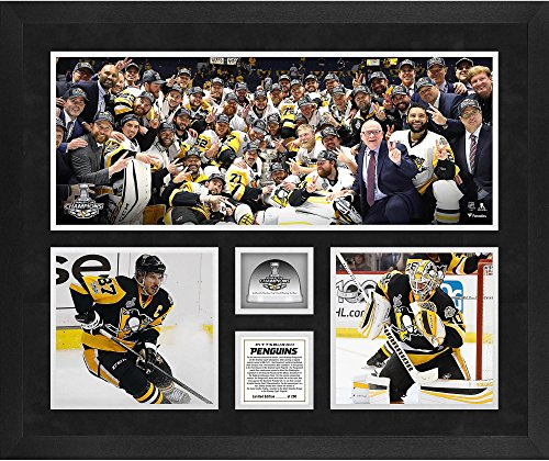 Pittsburgh Penguins 2017 Stanley Cup Champions Framed 20'' x 24'' 3-Photograph Collage with Game-Used Ice from the Stanley Cup Final - Limited Edition of 250