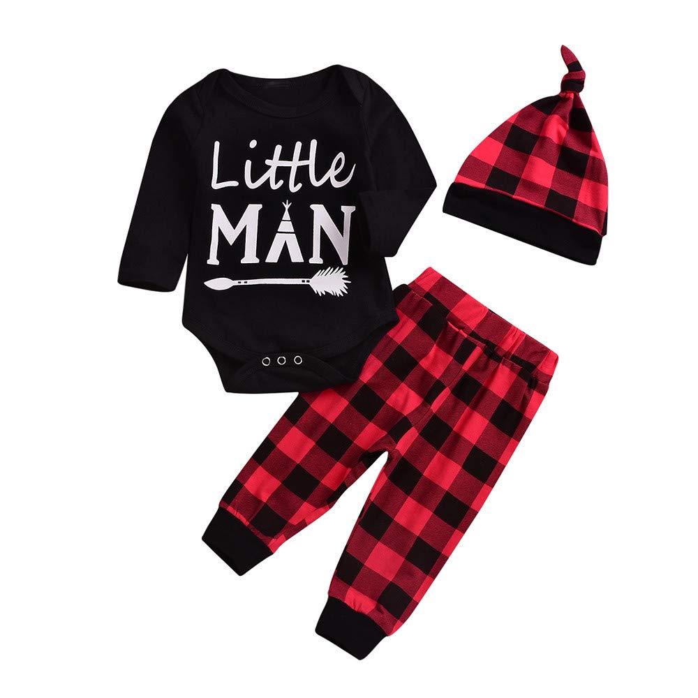 beautyjourney 3PCS niños bebés niñas niños Negro Body Letra Impresa Mameluco Enrejado Pantalones Rojos Largos y Sombrero Conjunto Outfit