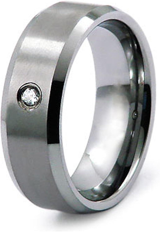 Gratis Grabado Personalizado Anillo de 0.05ctw Diamante de Carburo de Tungsteno Banda 8mm