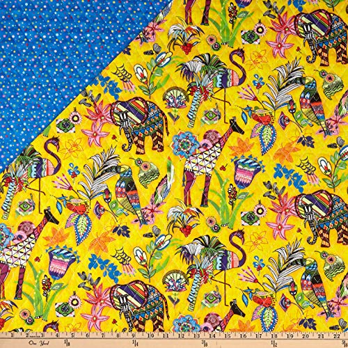 Fabri-Quilt Paintbrush Studio Fabrics Ubuntu Pre-Quilted Wild Encounter Multicolored Fabric by the Yard Double Sided Pre Quilted Fabric