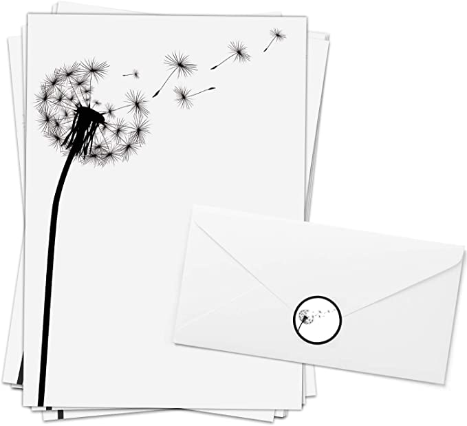 20 komplett bedruckte Briefumschl/äge DIN LANG 20 Blatt A4 Motivpapier-SetBoot am See auch als Trauerpapier verwendbar f/ür Laser//Ink//Copy//Hand