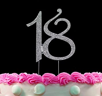 18th Birthday Cake Toppers Bling Topper 18 Silver Party Decorations By Yacanna
