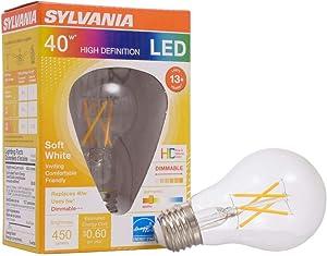 SYLVANIA General Lighting, Soft White 40178 Sylvania 40W Equivalent, LED Filament Light Bulb, A19 Lamp, Efficient 5W, 2700K, 1 Pack