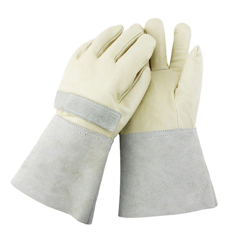 NQFL 手袋 溶接手袋 高電圧 電気作業 ライブ 高温 外部断熱 保護手袋 85742 ホワイト(creamy-white) B07F8Y27PC