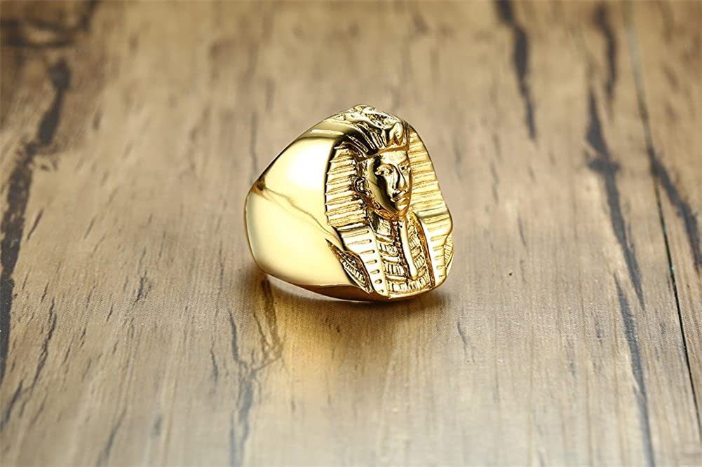 UMtrade Hommes Acier Inoxydable /égyptien Pharaon Anneaux Ancien Egypte King Head Statue Band,Or
