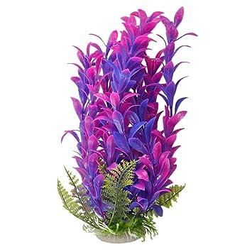 SODIAL(R) Planta de cerámica para pecera de plástico, 24,32 cm de altura, color fucsia morado: Amazon.es: Productos para mascotas