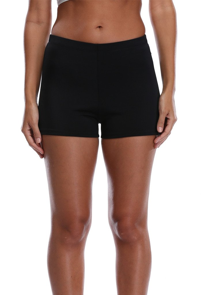 Attraco Women's Solid Color Swim Boardshort Swimsuit Bottom, Black S, 12