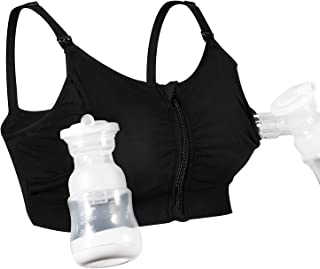 Hands Free Pumping Bra, Momcozy Upgraded Soft Cotton with Zipper Pumping & Nursing Bra, Suitable for Breast Pumps like Medela, Lansinoh, Philips Avent, Evenflo, Ameda (Medium)