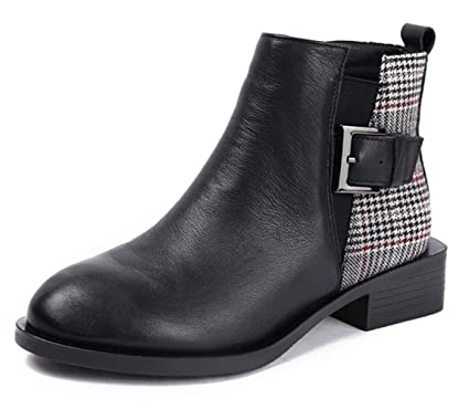 315c29acfca Women's Martin Boots Leather Crude Heel Round Head Ankle Boots Plaid Pattern  Metal Buckle Decorative British
