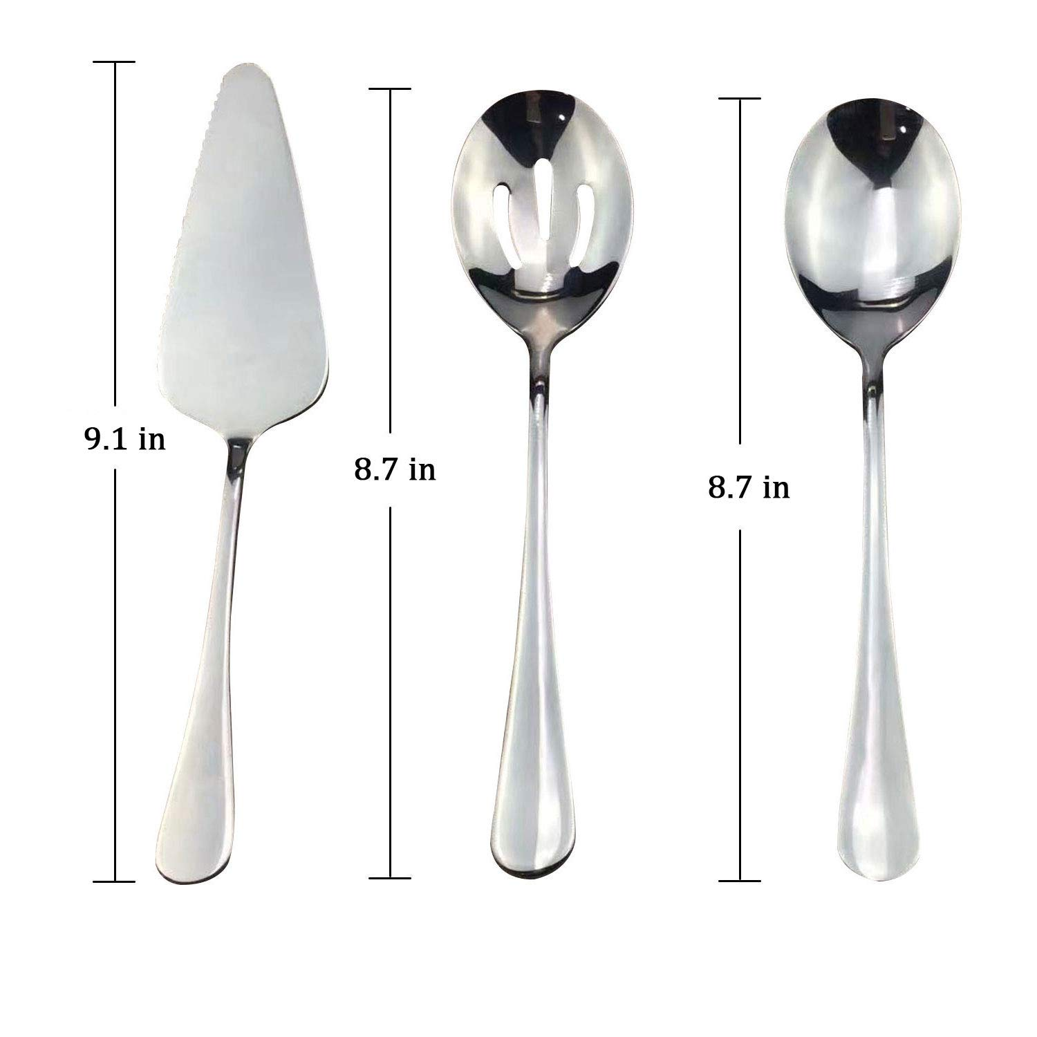 TaNaT Serving Set 5-Piece Stainless Steel Cutlery Flatware Mini Dessert Server for Home Kitchen,Restaurant and Cafes(Set of 5),Classic Style,Never Rust,with Round Edge