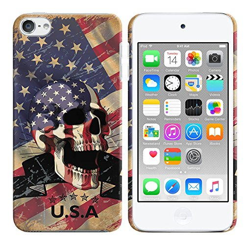 Apple iPod Touch 5 (5th Generation) iPod Touch 6 (6th Generation) Case, FINCIBO Back Cover Hard Plastic Protector Case Stylish Design, USA American Flag Skull