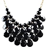 Jane Stone Fashion Floating Bubble Necklace Teardrop Bib Collar Statement Jewelry for Women