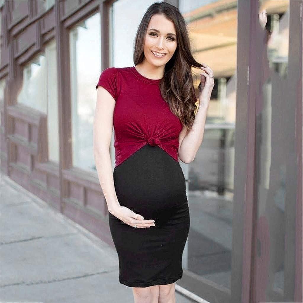 Allence Mutterschaft Umstandskleid Kurzarm Hohe Taille Minikleid Stillzeit Nachtkleid Bandagen Frauen Patchwork Schwangerschaftskleid Sommerkleid Umstandsmode Schwangerschaft Stillen