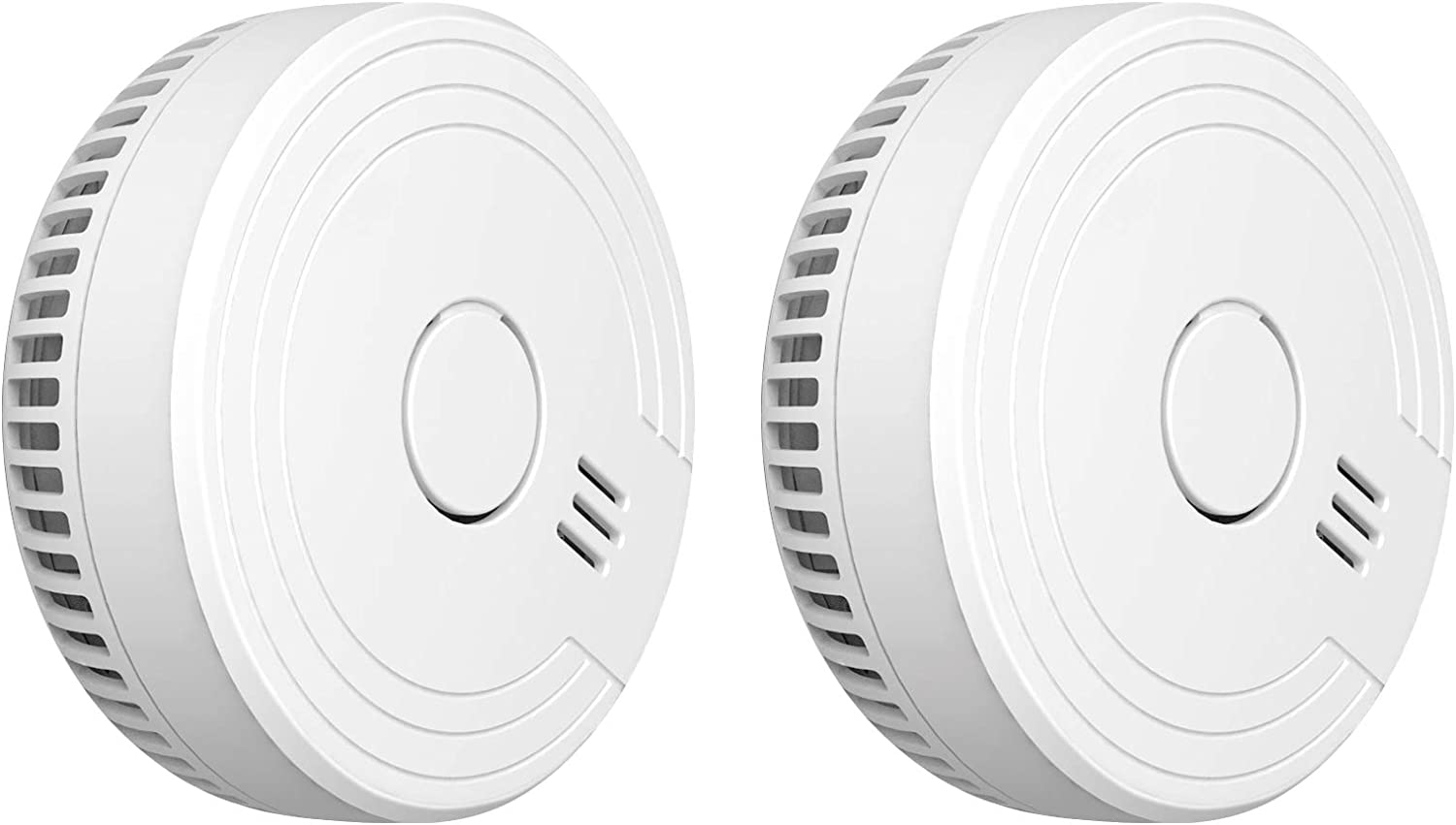 Ecoey Smoke Alarm Fire Detector, Battery Included Photoelectric Smoke Detector with Test Button and Low Battery Signal, Fire Alarm for House, FJ136GB, 2 Packs
