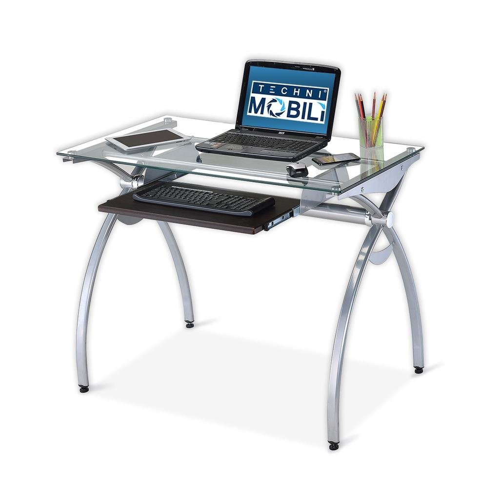 shaped chrome black mobili desk kp l c computer glass techni