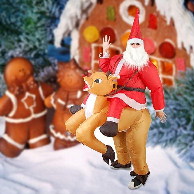 Askdasu Disfraz Hinchable de Navidad con diseño de Papá Noel ...