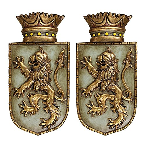 Design Toscano Medieval Rampant Lion Shield Wall Sculptures - Set of Two ()