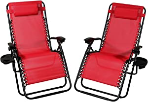 Sunnydaze Outdoor XL Zero Gravity Lounge Chair with Pillow and Cup Holder, Folding Patio Lawn Recliner, Red, Set of 2