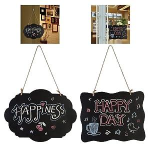 Outgeek Chalk Boards 3Pcs Wave Rectangle Floral Shape Wall Decor Hanging Blackboard for Wedding Restaurant